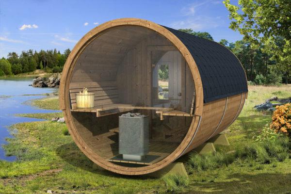 sauna barril exterior