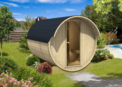 sauna barril madera exterior