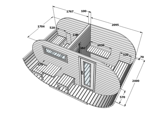 sauna exterior madera ovalada