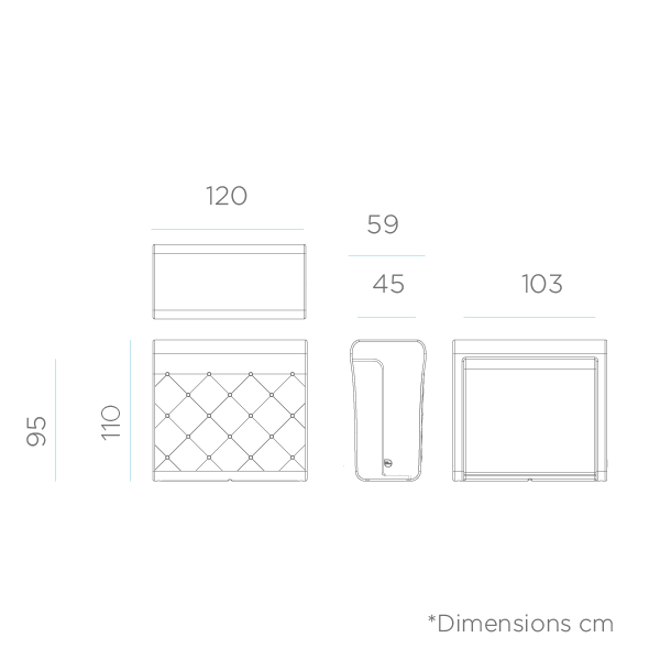 dimensiones de Barra de bar recta Creta