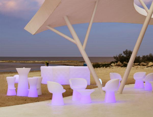 Barra de bar Ibiza con luz