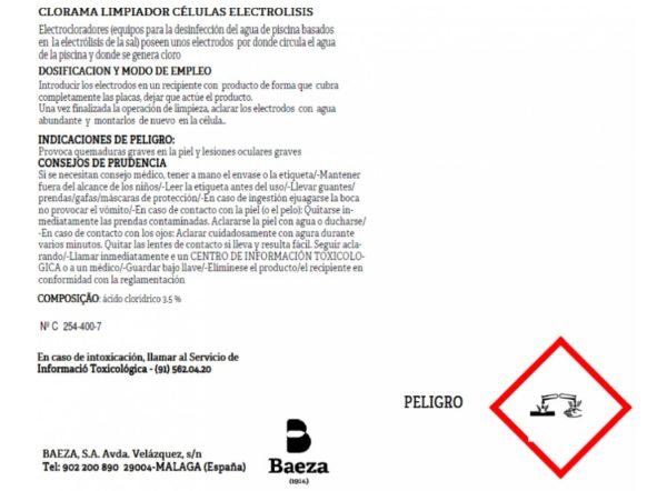 Limpiador de células electrólisis, dorso