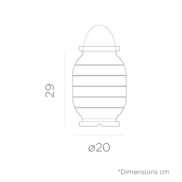dimensiones de Lámpara portátil Candela con batería recargable
