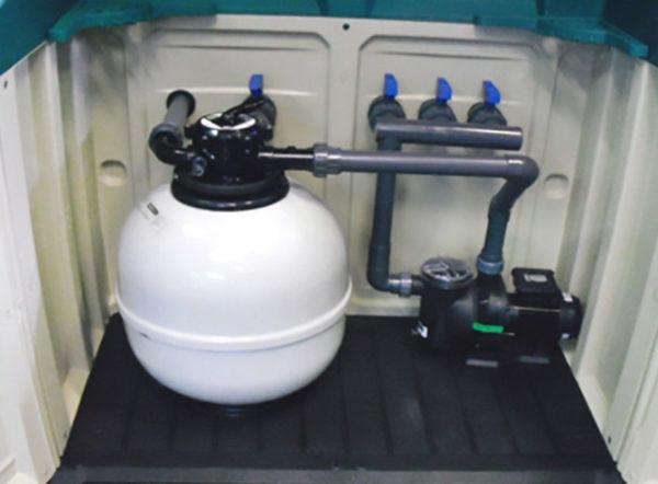 Caseta elevada con filtro aster y bomba sena