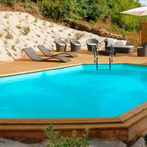 piscina desmontable gre de madera Sunbay Avocado ovalada