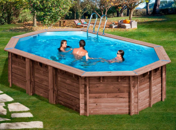 piscina desmontable gre de madera Sunbay Macadamia ovalada