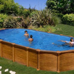 piscina desmontable gre Amazonia acero imitación a madera ovalada
