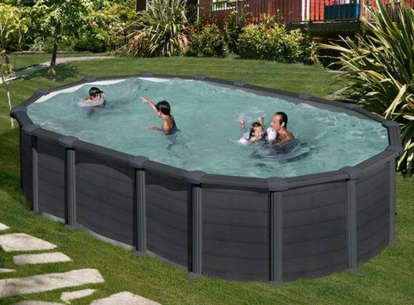 piscina desmontable gre Capri de acero imitación a grafito ovalada
