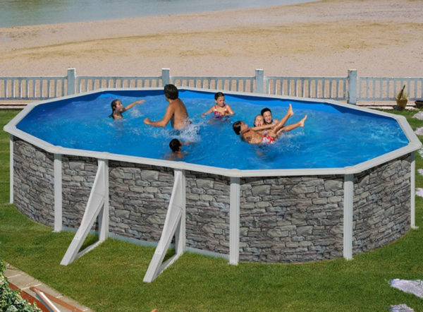 piscina desmontable gre Cerdeña acero imitación a piedra ovalada