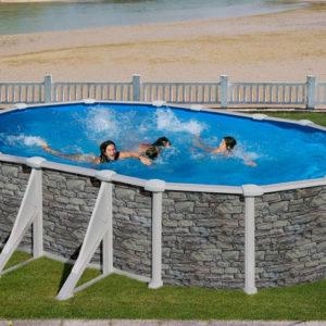 piscina desmontable gre Corcega acero imitación a piedra ovalada