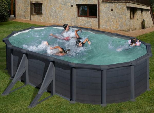 piscina desmontable gre Granada de acero imitación a grafito ovalada