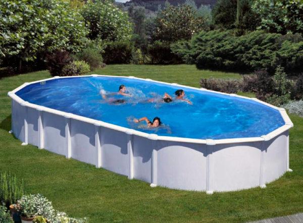 piscina desmontable gre haiti ovalada acero blanca grande