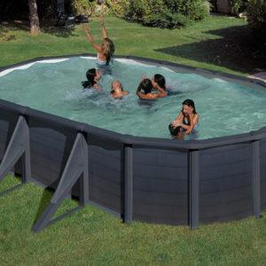 piscina desmontable gre Kea de acero imitación a grafito ovalada