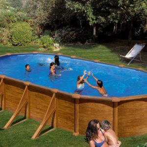 piscina desmontable gre mauritus acero imitación a madera ovalada