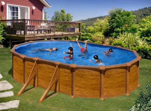 piscina desmontable gre mauritius ovalada acero imitación a madera pequeña