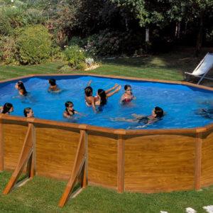 piscina desmontable gre Pacific acero imitación a madera ovalada