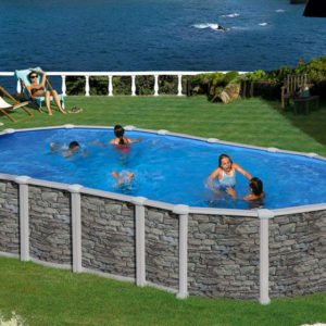 piscina desmontable gre Santorini acero imitación a piedra ovalada