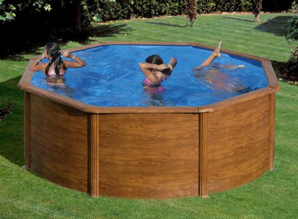 piscina desmontable gre Sicilia acero imitación a madera redonda