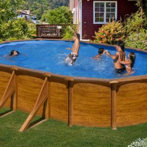 piscina desmontable gre Sicilia acero imitación a madera ovalada