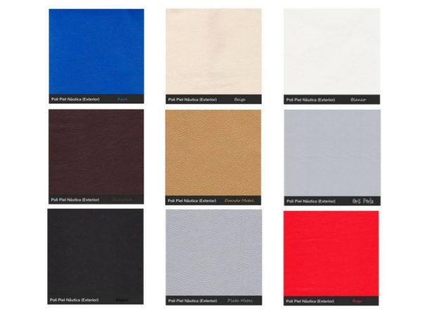 9 colores, azul, beige, blanco, chocolate, dorado, gris, negro, plata, rojo