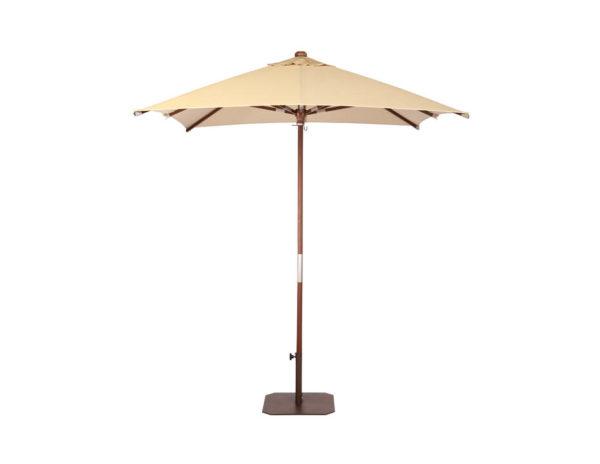 Parasol Java 2x2 metros de Ezpeleta pie de madera con fuga de vientos sin volante y diferentes colores