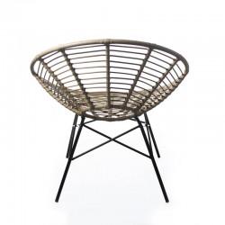 silla circular de exterior hecha de rattán