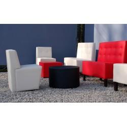 banco dos y una plaza color blanco y rojo