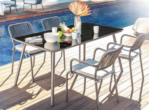 Set Arhiza de 4 sillas y mesa de jardín de Sklum gris