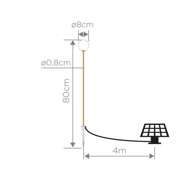 Medidas lampara solar