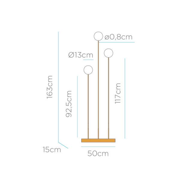 Medidas lampara de pie con 3 luces