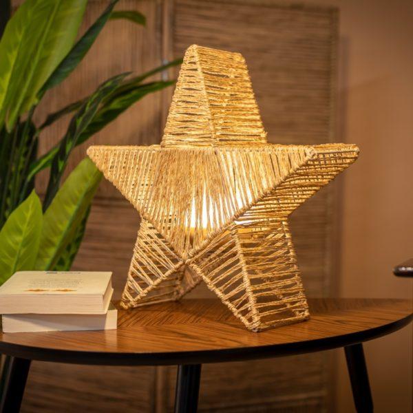 Lampara con forma de estrella de fibra natural y trenzada a mano, sin cables