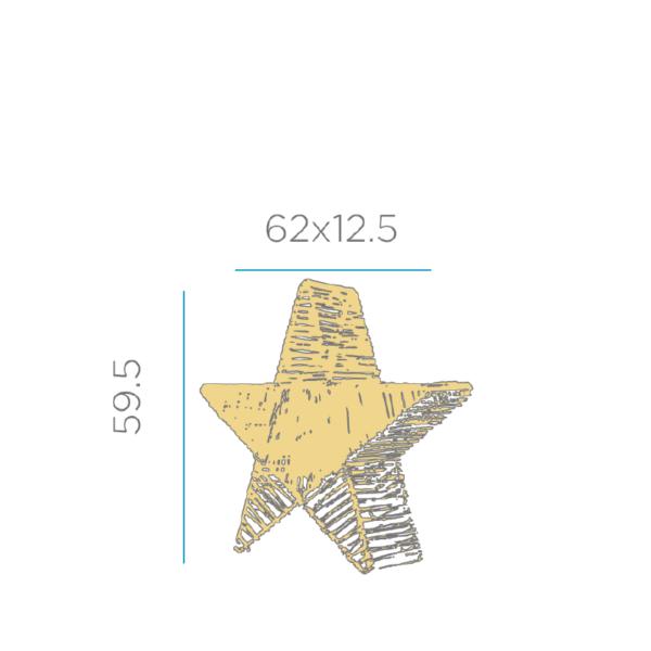 Lampara con forma de estrella medidas 60cm sin cables