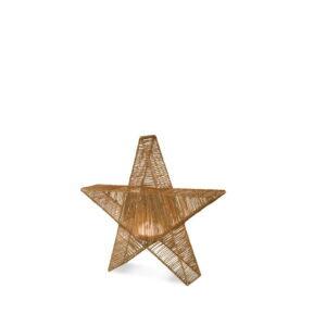 Lampara con forma de estrella ideal para Navidad de fibra natural y trenzada a mano sin cables