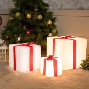 Cubo de luz Navideño en tres tamaños diferentes.